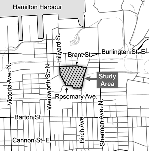 Location map of Hamilton Transit Bus Maintenance and Storage Facility Design