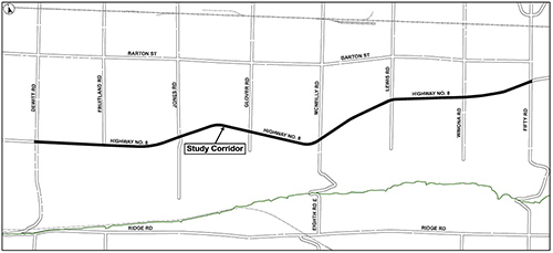 Location map of Highway 8 improvements from Fruitland Road to Fifty Road)