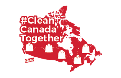 Image of a red map of Canada with the text Clean Canada Together