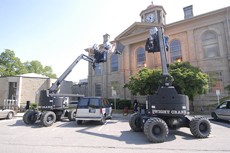 Movie equipment on set in Hamilton