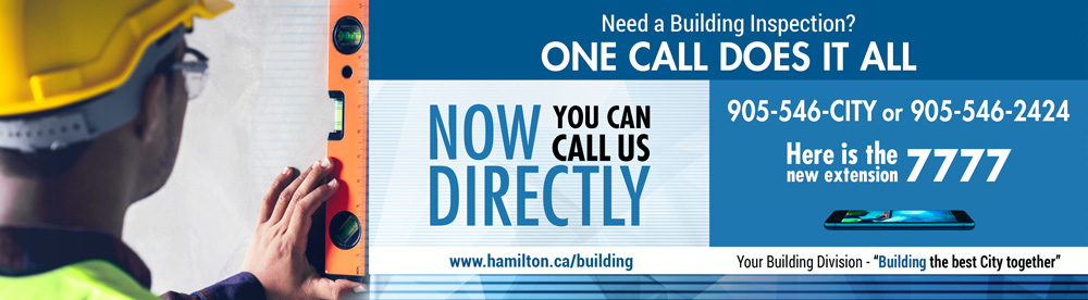 Promotion for the new centralized call number for building inspections 905-546-2424 ext. 7777