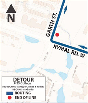 HSR Detour map for Route 35 College