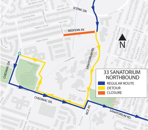 HSR detour map of route 33