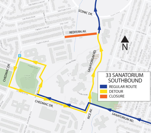 HSR detour map for route 33