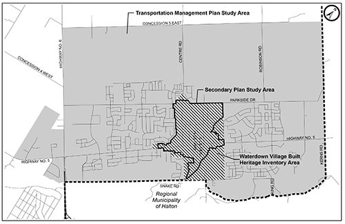 Map showing the boundaries of the Waterdown planning projects