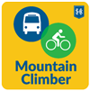 Mountain Climber Logo - Illustration of a bicycle and a bus