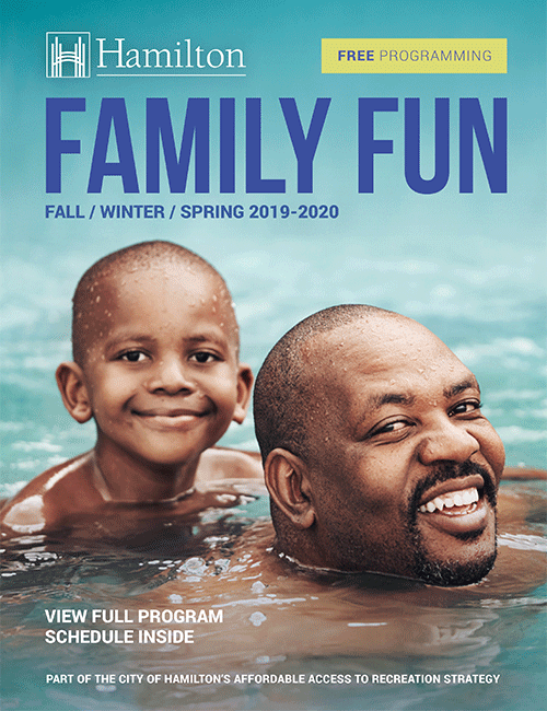 Cover for the Family Fun Recreation Programming showing a man and a boy swimming
