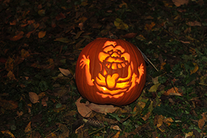 Carved pumpkin at Annual Pumpkin Stroll