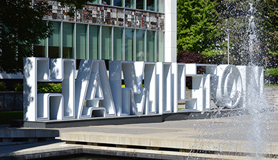 View of the Hamilton sign in front of Hamilton City Hall