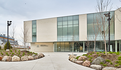 Front view of urban park at Bernie Morelli Recreation Centre