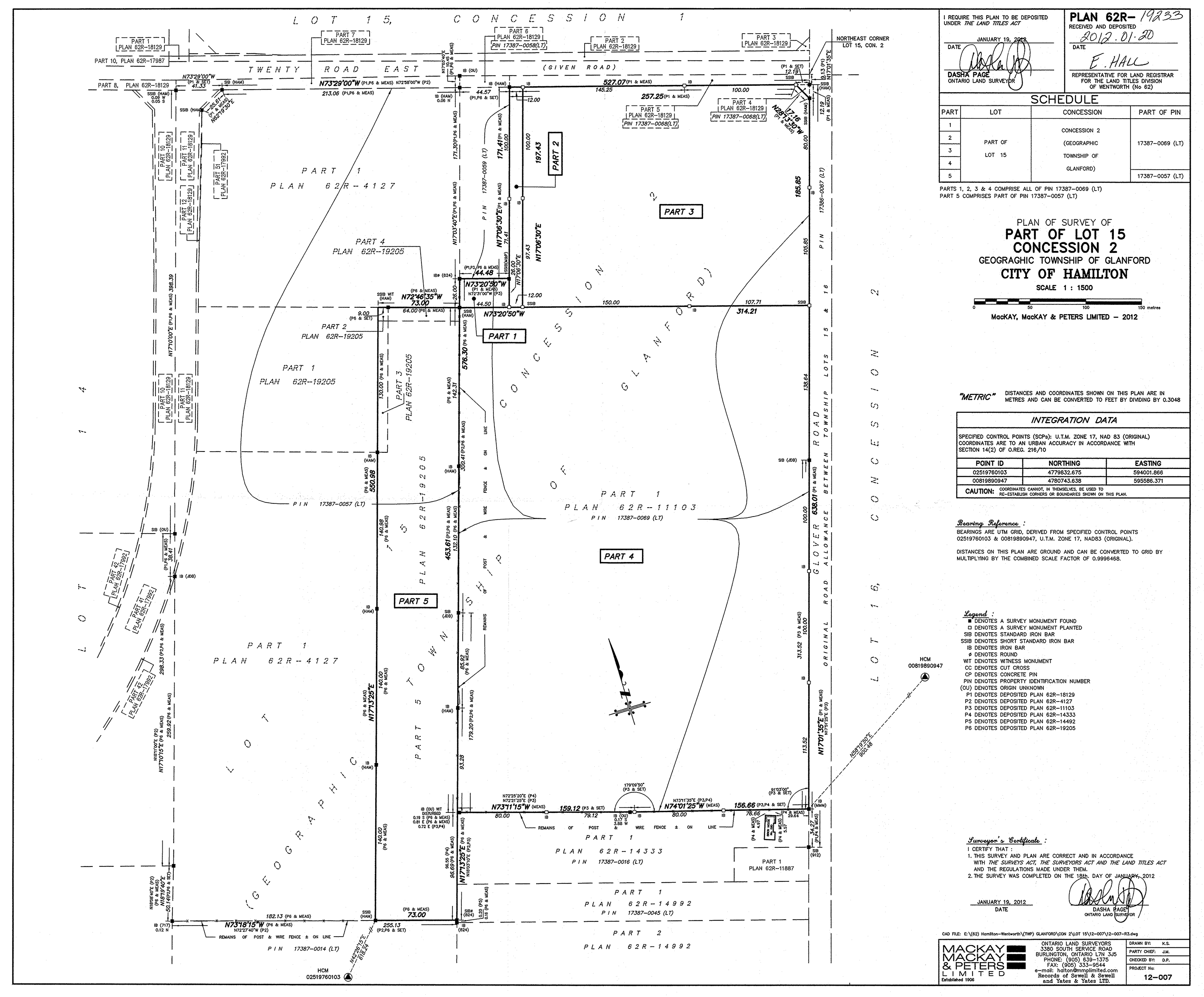 Registered Plan for 400 Glover Road,  Hamilton