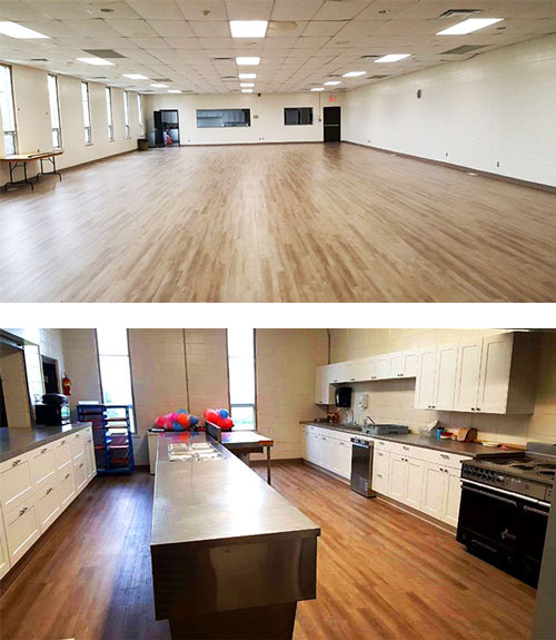 Top picture: Glanbrook Arena Banquet Hall; bottom picture: kitchen facility