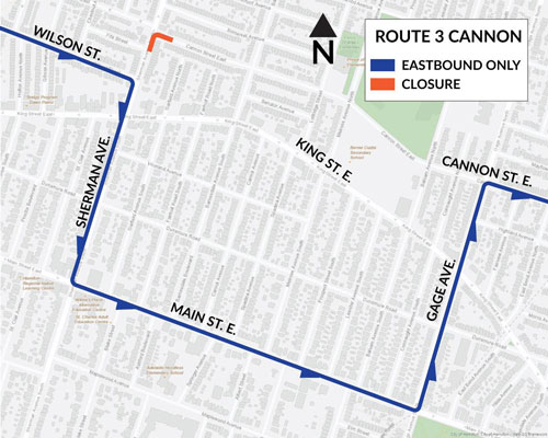 Map of HSR Bus Detour for Route #3 Cannon due to work by Bell