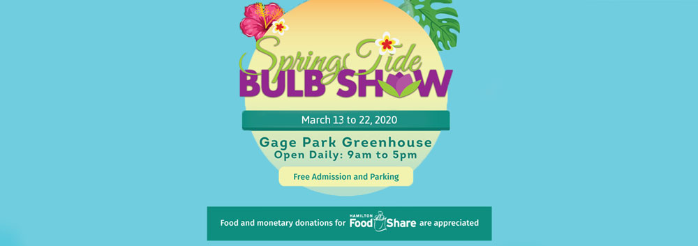 Promotional banner for the 2020 Spring Tide Bulb Show from March 13 to March 22