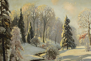 Painted canvas art of winter scene by Doris Farmer