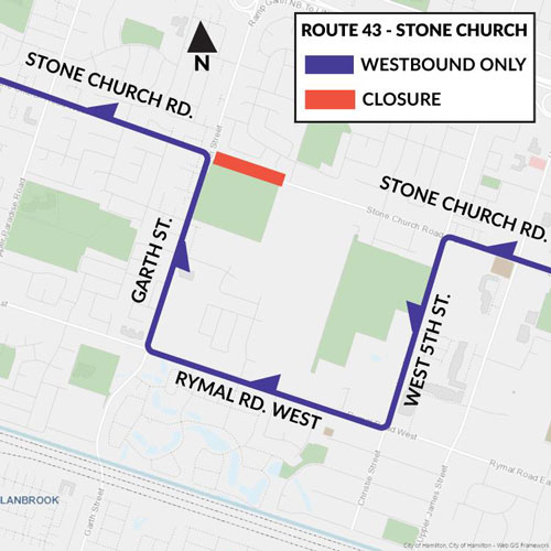 HSR Bus Detour map for Route 43 from February 3 to April 30