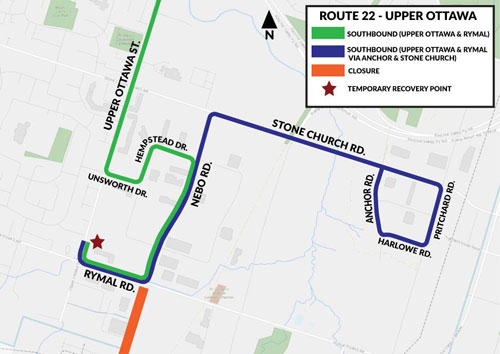 Map of HSR Bus Detour for Route #22 Upper Ottawa due to construction