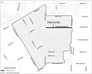 Map of Dickenson Road (Upper James Street to Glancaster Road) Municipal Class Environmental Assessment