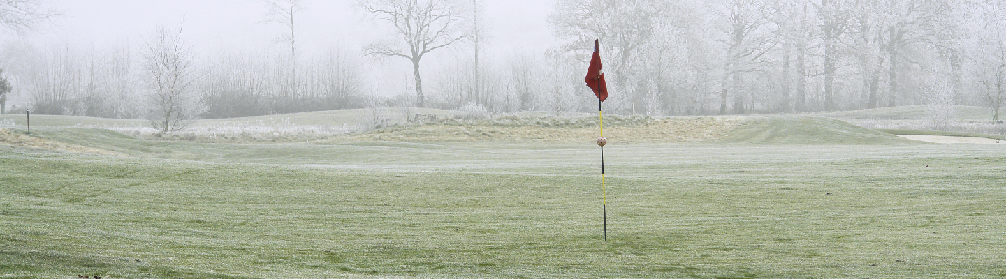 Golf green with frost