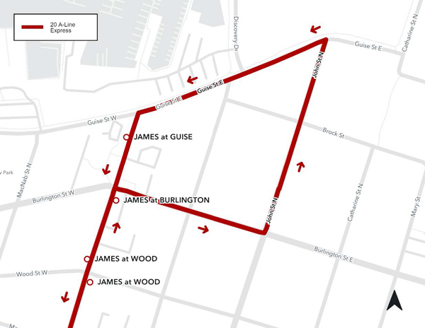 Map of Detour Route for Bus 20 -A line