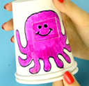 Hand drawn octopus on paper cup