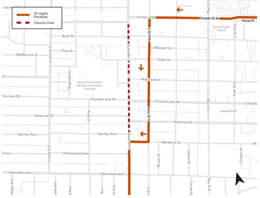 Detour map for Route 34 for Queen Street construction