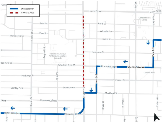 Detour map for Route 6 for Queen Street construction
