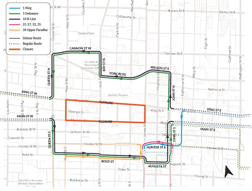 Detour map for Downtown Hamilton Area for Protests and Rallies