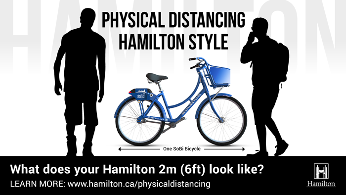 Physical Distancing one Sobi bicycle of distance
