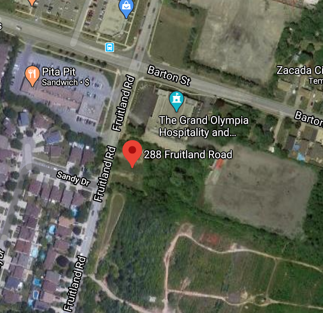 Location map of 288-294 Fruitland Road, Stoney Creek