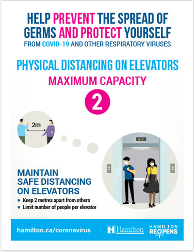 Example poster: Physical Distancing on Elevators, Max capacity 2