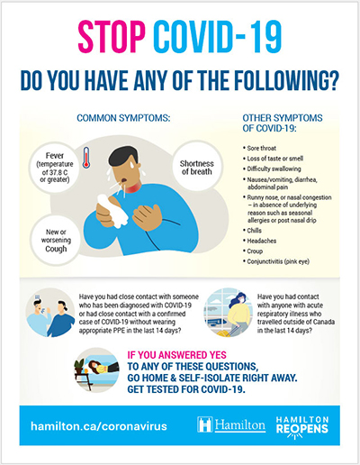 Example of poster signage: Stop COVID-19, Do you have any of the following symptoms?