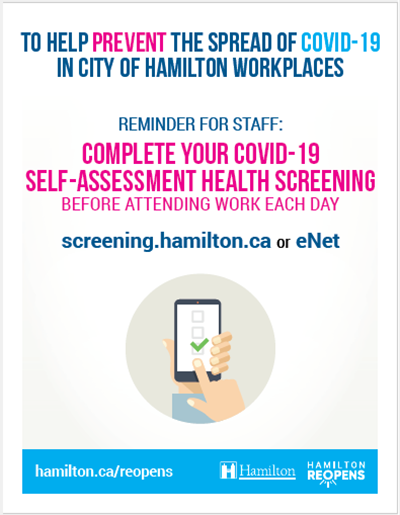 Example of poster signage: Reminder complete your COVID-19 self-assessment health screening