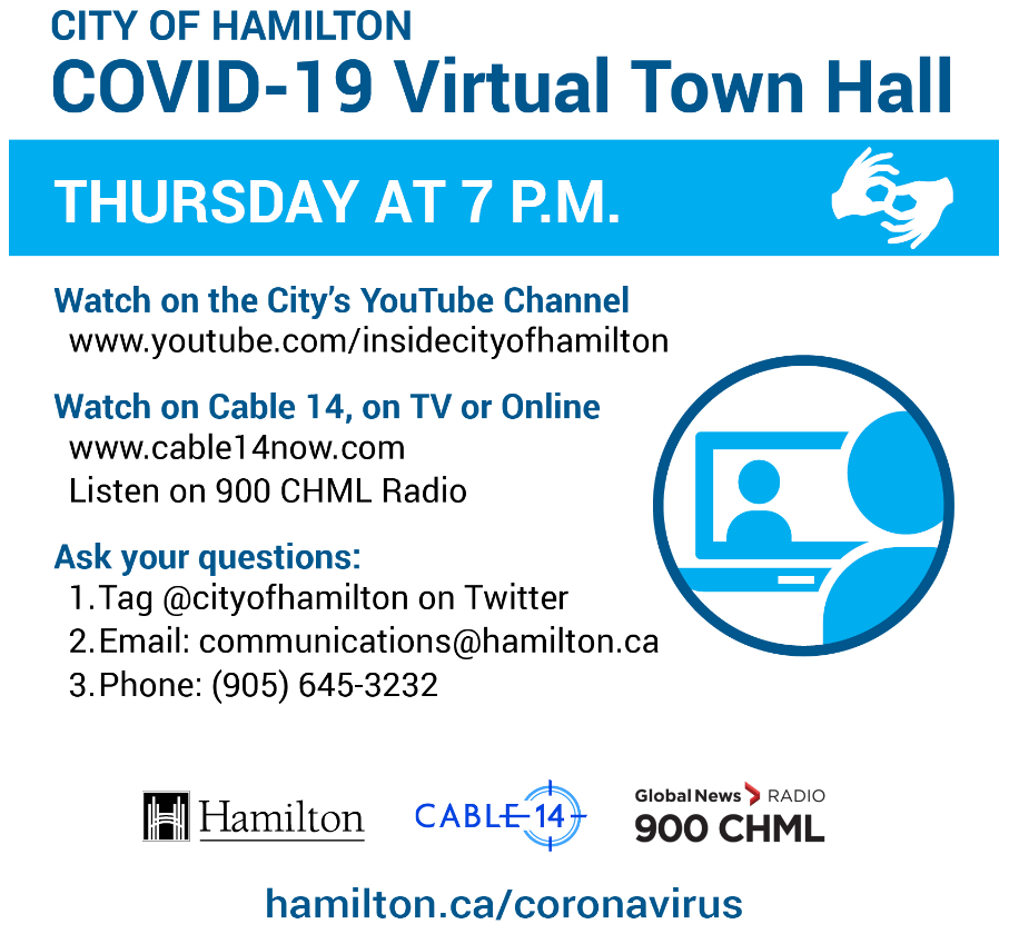 Promotion for COVID-10 Virtual Town Halls on Thursdays at 7 pm