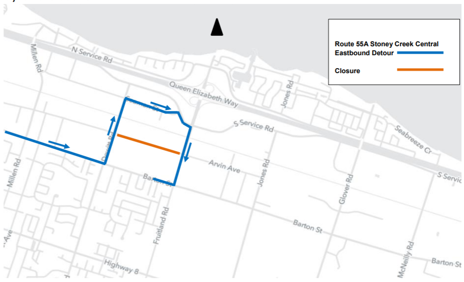 HSR Detour Map for Route 55A - STONEY CREEK CENTRAL for Arvin Closure