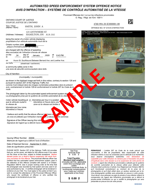 Sample of Automated Speed Enforcement Offence Notice