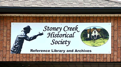 Sign for the Stoney Creek Historical Society Reference Library and Archives