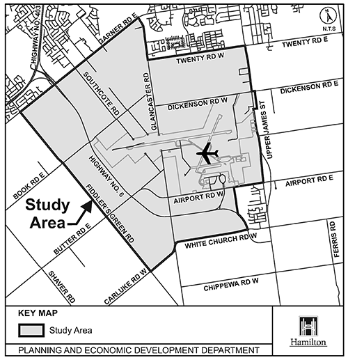 Study area map for Airport Employment Growth District Transportation Master Plan