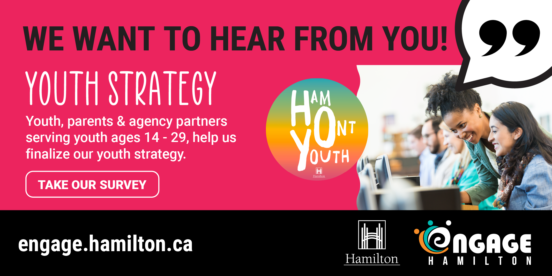Promotion for Youth Strategy Survey on Engage Hamilton