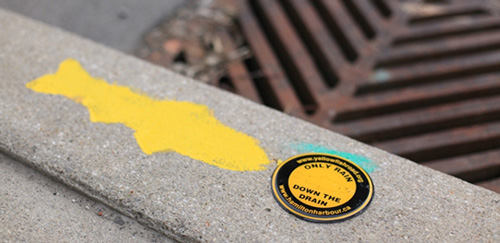 Image of yellow fish marker next to catch basin