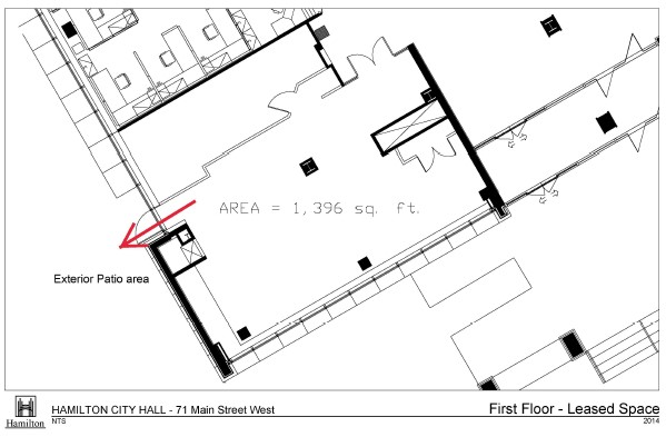 Floor Plan - Layout of First Floor Leased Space at Hamilton City Hall showing area of 1,396 square feet