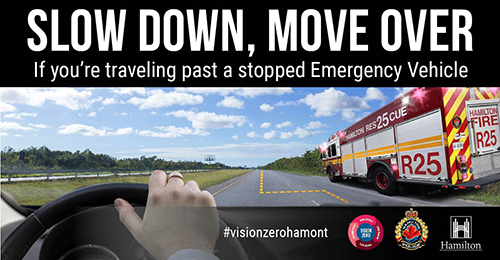 Promotion for Slow Down, Mover Over if you are travelling past a stoopped Emergency Vehicle