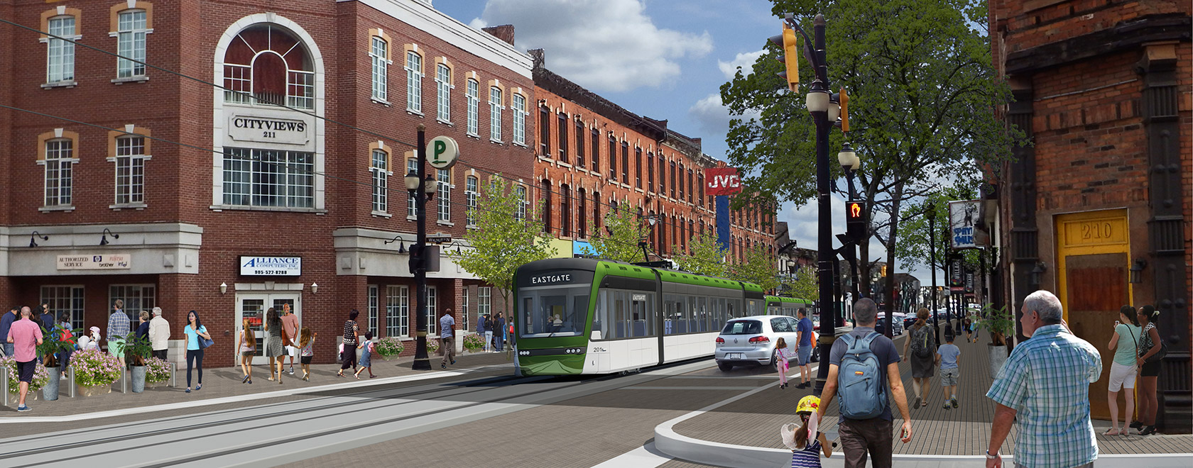 Rendering of an LRT train heading west down a track on King Street East
