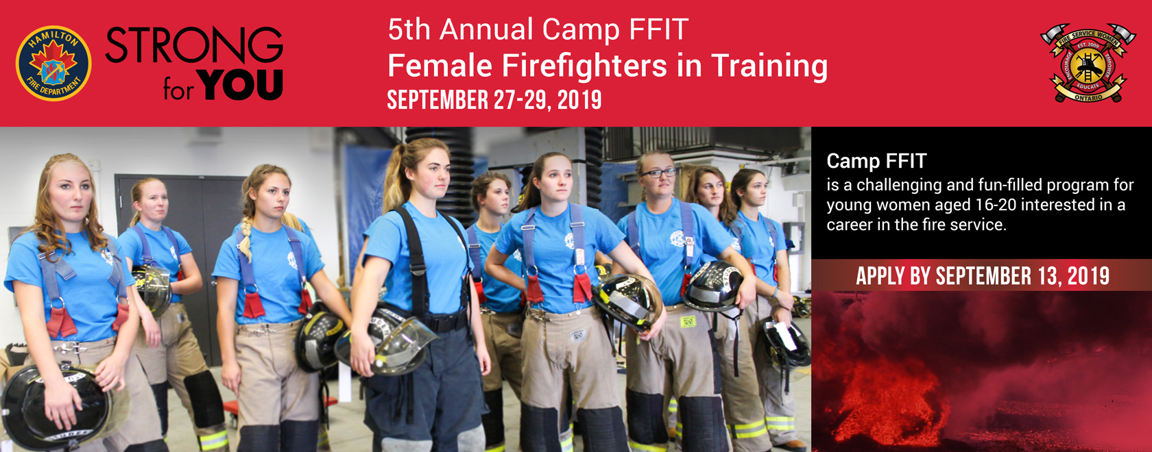 Web Banner for the Camp for Female Firefighters in Training in Hamilton