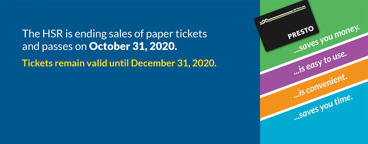 HSR is ending sales of paper tickets and passes on October 31, 2020