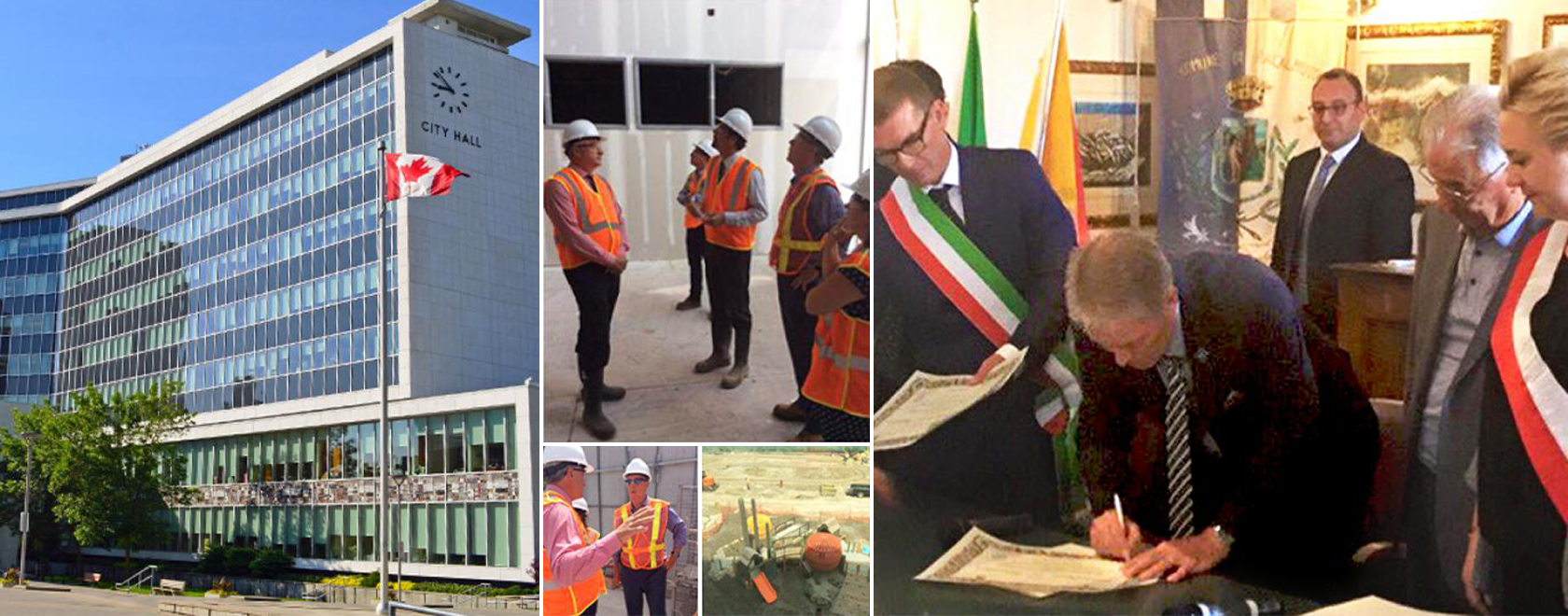 Collage of City Hall People standing on construction sites and Mayor with international delegates