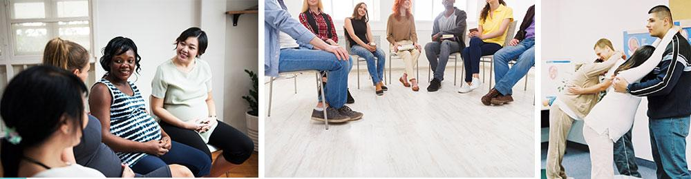 A composite of 3 photos from Left to Right: Pregnant women in a meeting, young people at casual meeting, A partner helping his pregnant partner in a prenatal class