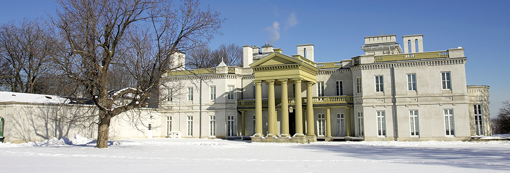 Exterior of Dundurn Castle in Winter