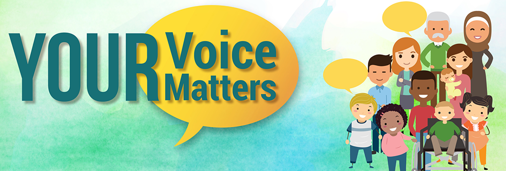 "Illustration of a group of people with text ""Your Voice Maters"""