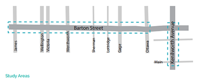 Map of the Barton Street-Kenilworth Avenue Commercial Corridor Study